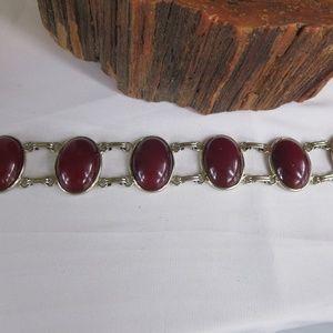 Vintage Silver Tone Agate Panel Bracelet